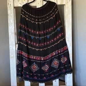 Chico's Bohemian Machine Embroiled Maxi Skirt